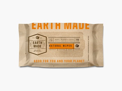 Earth Made pt.2.2 identity typography design label identity system startup california wet wipes wipes badge planet environmental organic earthy packaging branding
