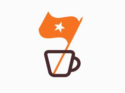 Espresso Republic espresso cup flag design packaging coffee package logo food beverage cafe shop bar orange brown signage star mug illustration californian hip badge classic identity branding specialty dripp espresso republic