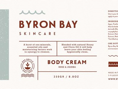 Byron Bay Body Cream packaging label planting skincare cosmetic nsw organic natural logo branding australia