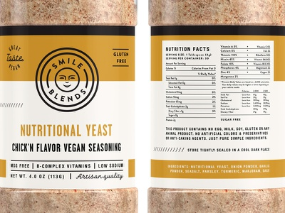 Smile Blends Packaging pt.1.6 gluten free vegan seasoning nutritional yeast spice badge packaging label