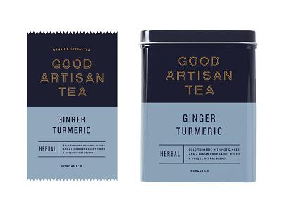 Good Artisan Tea skpackaging18 bag pouch wrapper can tin packaging beverage drink branding tea