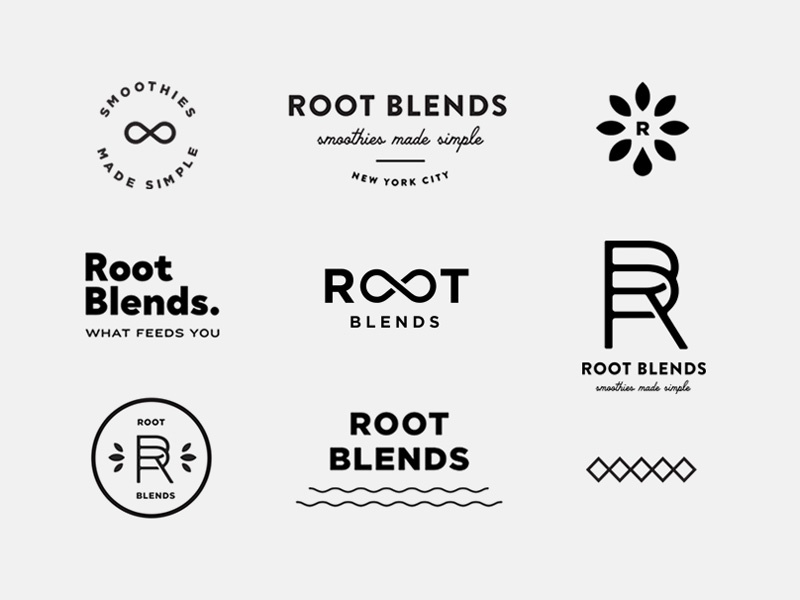 Root Blends pattern leaf badge icon monogram branding juice fruit smoothie