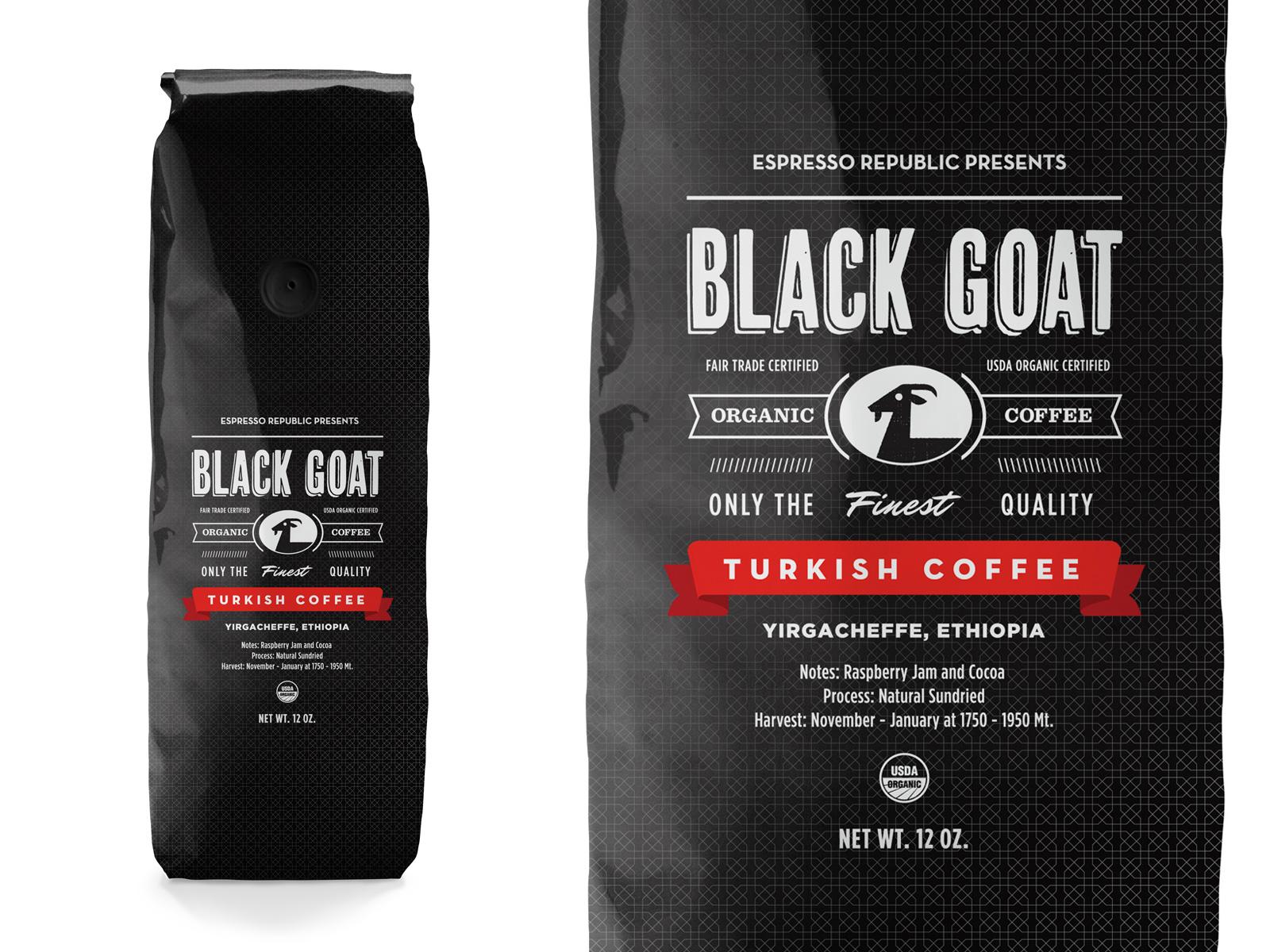 Black goat coffee packaging