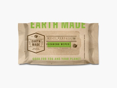 Earth Made pt.2.3 typography badge design bag identity label kraft earthy organic wet wipes wipes packaging logo branding