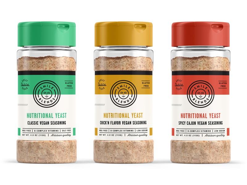 Smile Blends final packaging skpackaging18 packaging design illustration artisan classic chicken spicy logo identity label design startup branding spice container label food seasoning gluten free organic