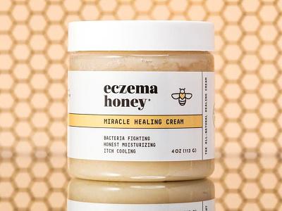 Eczema Honey logo container cream healing eczema moisturizing bee honeybee healthy honey organic cosmetic skincare san francisco startup label packaging branding