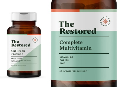 The Restored pt1.2 multivitamin vitamin vitamins sage wellness label start up design supplement identity packaging logo branding