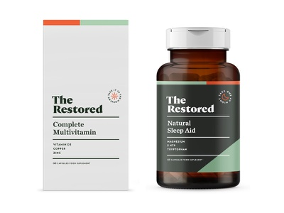 The Restored pt1.3 vitamin branding logo packaging identity supplement design start up label wellness sage