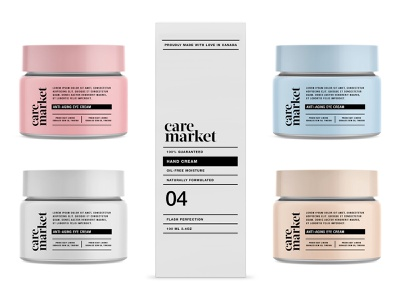 Care Market pt2.3 container bottle serum cream line skincare cosmetic branding logo packaging identity design start up label wellness