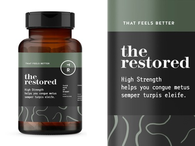 The Restored pt2 branding logo packaging identity supplement design start up label wellness sage vitamins vitamin multivitamin