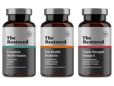 The Restored pt3 multivitamin vitamin vitamins sage wellness label start up design supplement identity packaging logo branding