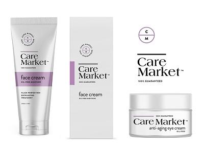 Care Market pt3 container bottle serum cream line skincare cosmetic branding logo packaging identity design start up label wellness