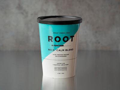 Root Calm Blend #6 branding cup paper packaging juice fruit smoothie startup drink
