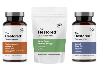 The Restored pt5 multivitamin vitamin vitamins sage wellness label start up design supplement identity packaging logo branding