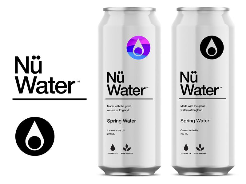 Nü Water pt.2.3 branding logo packaging identity water beverage startup uk sparkling spring logotype design package design natural can canned water