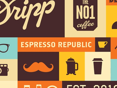 Dripp Brand Pattern illustration wifi shop pattern palm mustache music mobile iphone ice cream glasses french press dripp bar republic mug goat fixed camera bike bean flag espresso icon coffee food beverage cafe packaging tea