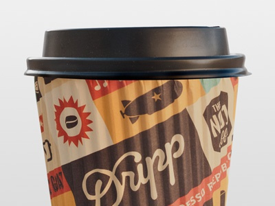 Dripp Hot Paper Cup illustration iconography cup wifi shop pattern palm mustache mobile iphone ice cream glasses french press dripp bar mug goat camera bike bean packaging espresso icon coffee losangeles california beverage food espresso republic bag