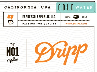 Water Label water coffee label packaging dripp tag cold brew bar house tea food los angeles passion quality cold drink design studio coolness hot beverage drink cold type shop lettering designer design logo closeup pattern espresso republic