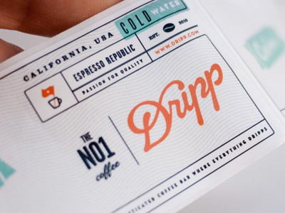 Dripp water label close upp