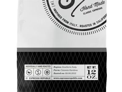 Static Espresso Bag slabserif monogram classic espresso hand made coffee font typography lettering packaging bag label stamp coffee dripp espresso republic