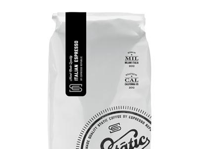 Static Espresso Bag stamp label bag packaging lettering typography font hand made coffee espresso classic monogram slabserif coffee dripp espresso republic