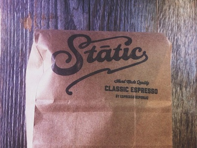 Static Bag branding identity logo hand made coffee espresso classic font typography lettering stamp packaging coffee dripp specialty espresso republic bag label craft organic