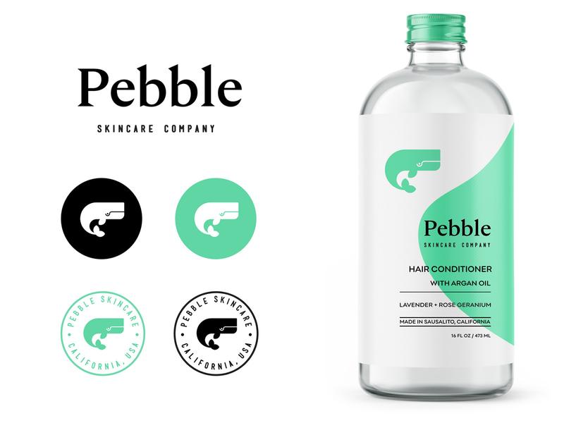 Pebble pt.2 badge bottle label packaging design skincare organic friendly eco startup california identity plasticfree bottle symbol icon whale logo branding