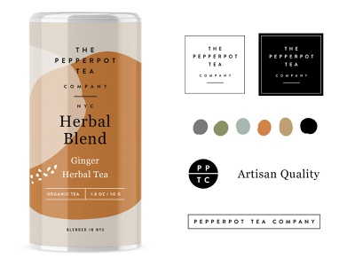 Pepperpot Tea pt.1 3rdwave wellness organic can tin nyc startup tea drink typography design beverage label identity packaging logo branding