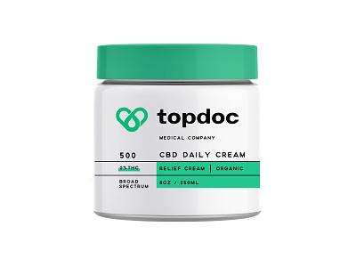 Topdoc CBD pt.3 wellness medical creamy relief design logo cbd logo branding packaging container organic cream oil cbd oil cbd icon brand symbol heart