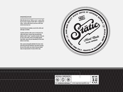 Static Espresso Bag slabserif monogram classic espresso hand made coffee font typography lettering packaging bag label badge stamp beverage drink food package coffee dripp espresso republic logo