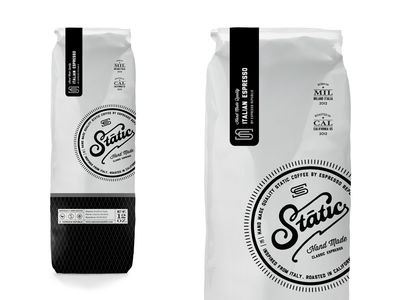 Static Coffee logo dripp espresso republic coffee package food drink beverage stamp badge label bag packaging lettering typography font hand made coffee espresso classic monogram slabserif