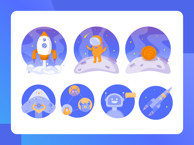Space icons and illustrations blue cosmonaut rocket science ui technology vector spaceship alien moon planet astronomy astronaut 2d icons space