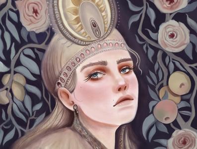 Sirin culture woman apple brush procreate russian legends colors photoshop illustration
