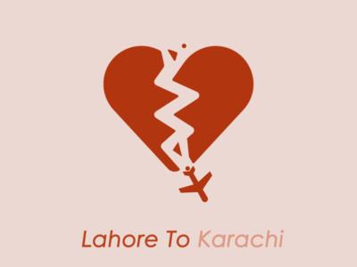 Lahore To Karachi minimal vector typography design illustration