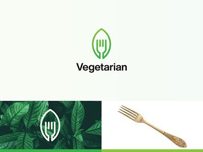 Vegetarian Logo brand mark food spoon logotype monogram logos branding logo logodesign