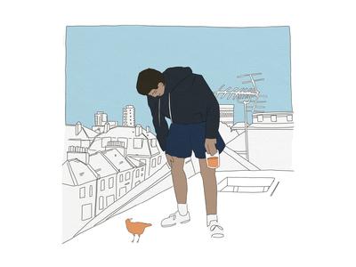 Boy and bird graphic design comic story narrative bird flat digital illustrator illustration digital illustration digital art design artist art
