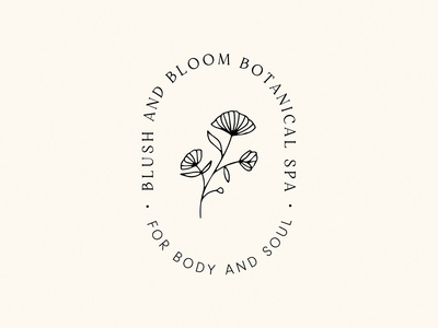 Logo Concept Blush & Bloom Spa brand designer branding logo design branding design typography skincare body flower flourish illustration logo logo designer wordmark logo design