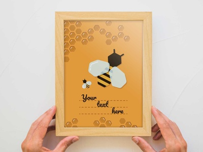 Greeting card on a honey theme. Vertical postcard honeybee bee vector illustration flat design
