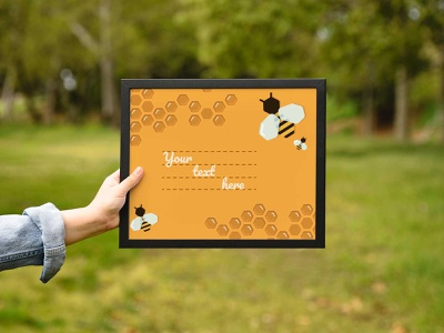 Greeting card on a honey theme. Horizontal postcard honeybee bee vector illustration flat design