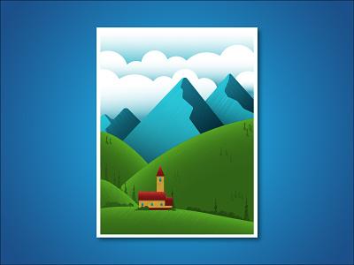 Landscape illustration mountains landscape flat vector illustration design