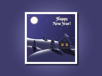 Winter night adobe illustrator landscape moon night card christmas snow winter flat vector illustration design