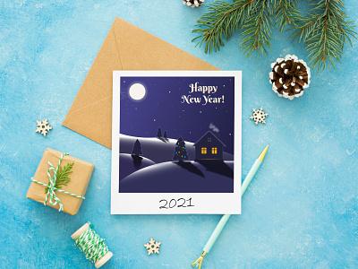 New Year Card night winter christmas new year postcard landscape flat vector illustration design