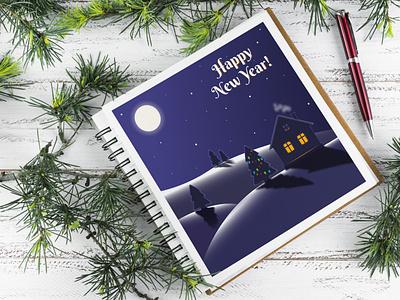 New Year Landscape moon night holiday winter christmas new year landscape flat vector illustration design