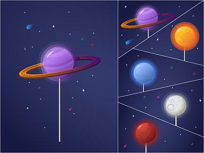 Space lollipops v3 neptune sun saturn moon mars planet lollipops flat vector illustration design
