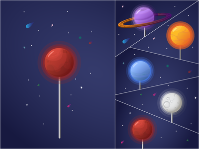 Space lollipops v2 neptune saturn sun moon mars planets lollipop flat vector illustration design