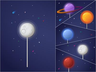 Space lollipops neptune saturn moon sun mars lollipop planets flat vector illustration design