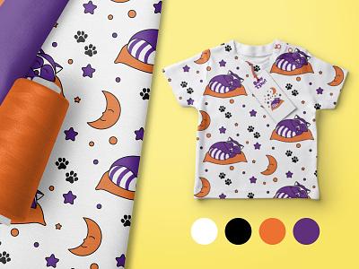 Cute pattern with raccoon purple orange moon stars cloth baby clothes pattern raccoon print flat vector illustration design