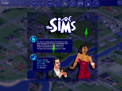 Good old The Sims (2000) photoshop banner design simulator the sims games videogame ui illustration design