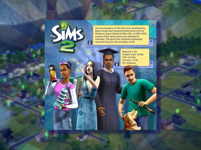 The Sims 2 (2004) banner design videogame sims 2 the sims banner games ui illustration design
