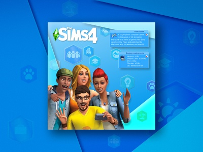 The Sims 4 (2013) photoshop games videogame simulator sims 4 the sims banner banner design ui illustration design